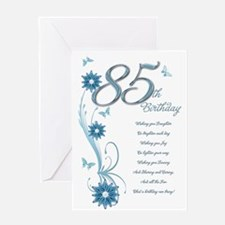 85th birthday in teal Greeting Card