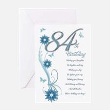 84th birthday in teal Greeting Card