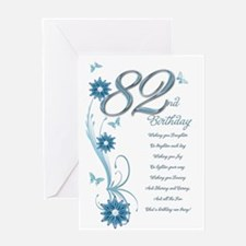 82nd birthday in teal Greeting Card