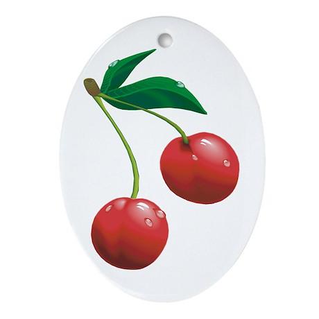 Cherries Oval Ornament