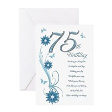 75th birthday in teal Greeting Card