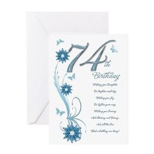 74th birthday in teal Greeting Card