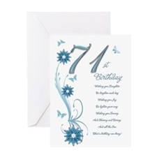 71st birthday in teal Greeting Card