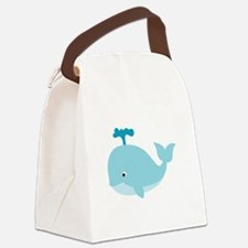 Blue Cartoon Whale Canvas Lunch Bag