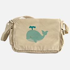 Blue Cartoon Whale Messenger Bag