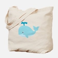 Blue Cartoon Whale Tote Bag