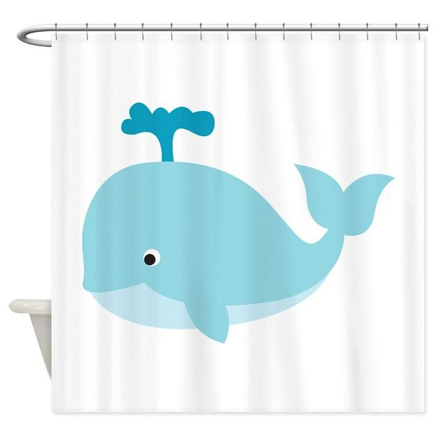 Blue Cartoon Whale Shower Curtain By ReallyCuteAnimals
