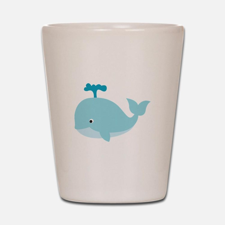 Blue Cartoon Whale Shot Glass