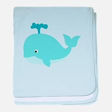 Blue Cartoon Whale baby blanket