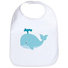 Blue Cartoon Whale Bib