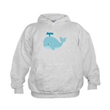 Blue Cartoon Whale Hoody
