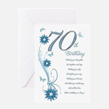 70th birthday in teal Greeting Card