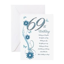 69th birthday in teal Greeting Card