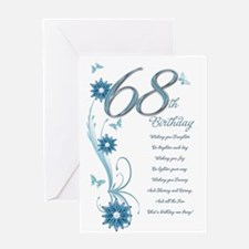 68th birthday in teal Greeting Card