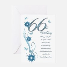 66th birthday in teal Greeting Card