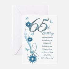 65th birthday in teal Greeting Cards (Pk of 20)