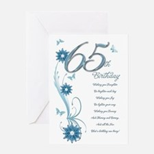 65th birthday in teal Greeting Card