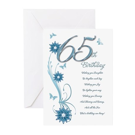 65th birthday in teal Greeting Cards (Pk of 10)