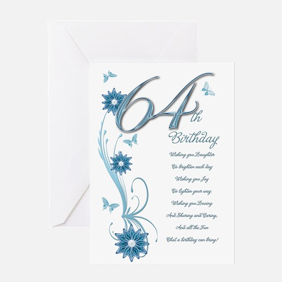 64th birthday in teal Greeting Card