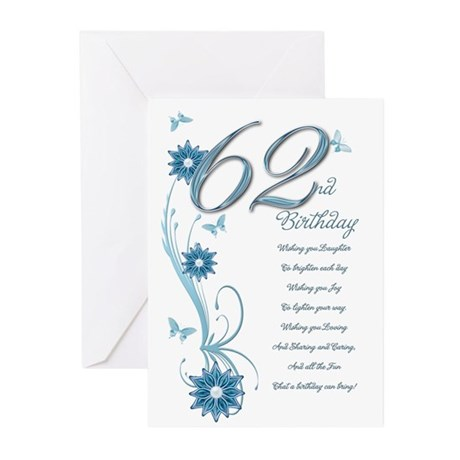 62nd birthday in teal Greeting Cards (Pk of 10)