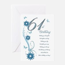 61st birthday in teal Greeting Card