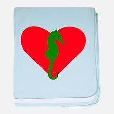 Green Seahorse Heart baby blanket