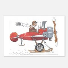 Red Ski Plane Postcards (Package of 8)
