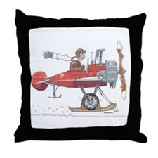 Red Ski Plane Throw Pillow