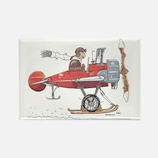 Red Ski Plane Rectangle Magnet