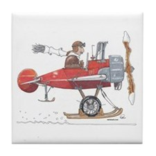 Red Ski Plane Tile Coaster