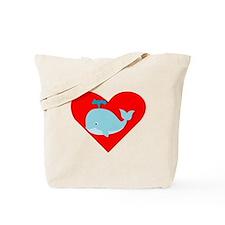 Blue Whale Heart Tote Bag