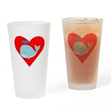 Blue Whale Heart Drinking Glass