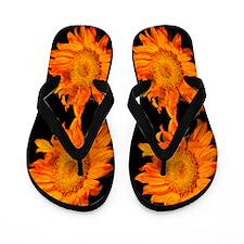 Flaming Orange Sunflowers Flip Flops