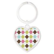 Pastel & Brown Argyle Heart Keychain