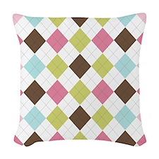 Pastel & Brown Argyle Woven Throw Pillow
