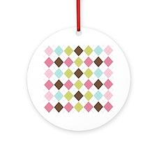 Pastel & Brown Argyle Ornament (Round)