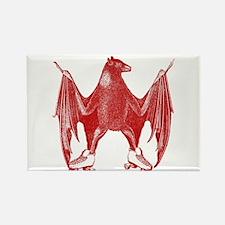 Derby Bat Red Rectangle Magnet