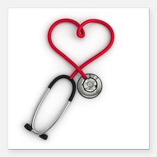 "Nurses Have Heart Square Car Magnet 3"" x 3"""