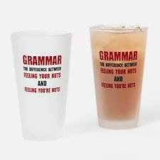 Grammar Nuts Drinking Glass