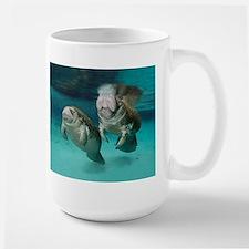 Mother and Babay Manatees Swimming Mugs