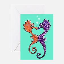Sea Horse Kiss Greeting Card