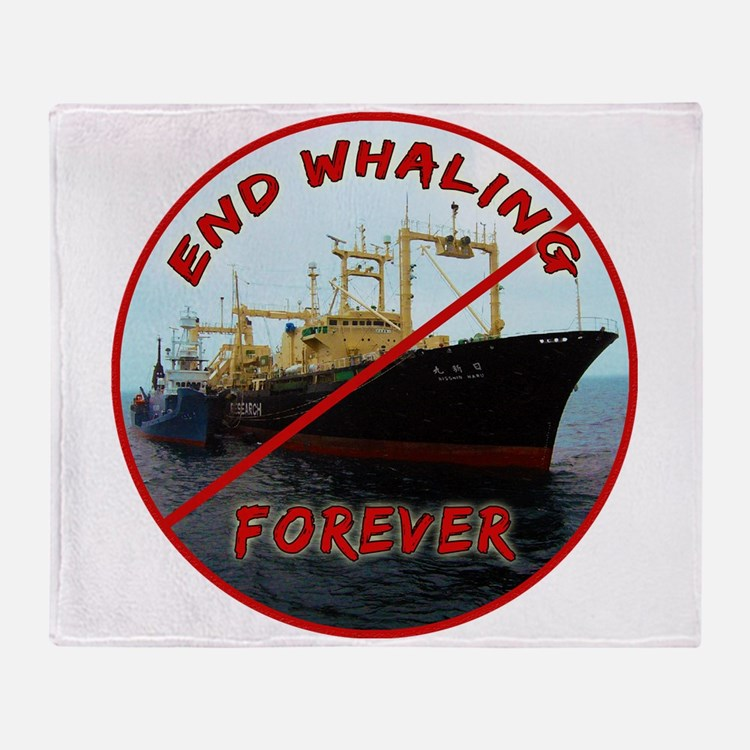 End Whaling Forever Throw Blanket