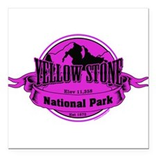 """yellowstone 3 Square Car Magnet 3"""" x 3"""""""