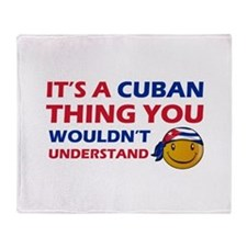 Cuban smiley designs Throw Blanket