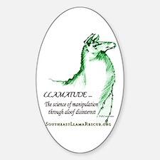 Llamatude Green Oval Decal