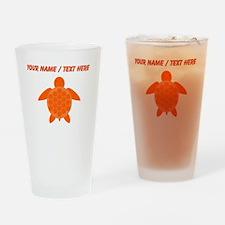 Custom Orange Sea Turtle Drinking Glass