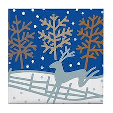 Snowy Reindeer Tile Coaster