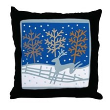 Snowy Reindeer Throw Pillow