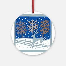 Snowy Reindeer Ornament (Round)