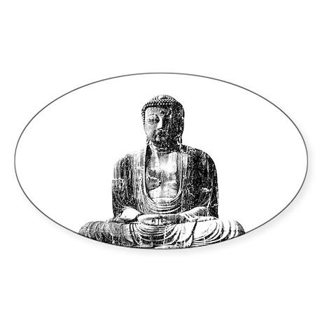 Retro Buddha Oval Sticker